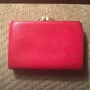LV red epi French wallet